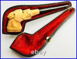 Superb Antique English Victorian Meerschaum Pipe In Original Leather Clad Case
