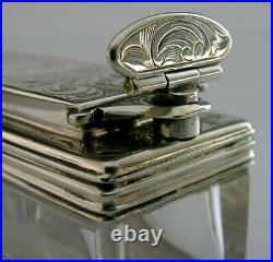 Superb English Solid Sterling Silver Traverlling Inkwell 1847 Crested Bowden