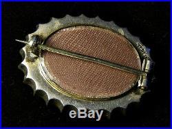Superb Unusual Antique Victorian English Silver Garnet Lovebirds Locket Brooch