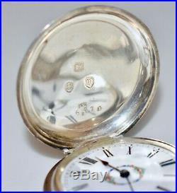 Superb Victorian English Stg Silver K/W Hunter Pocket Watch Orig Chain Fob & Key