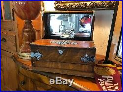 Tiger Oak Mirrored English Victorian Cribbage Game Portable Bar Whiskey Decanter