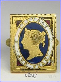 Unusual Antique English Enamel Victorian Penny Postage Stamp Cufflinks Studs