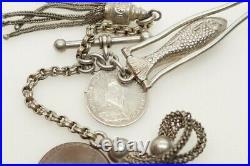 Unusual Antique Victorian English Silver Albertina Watch Chain Charm Bracelet