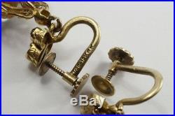 V PRETTY ANTIQUE VICTORIAN ENGLISH 15K GOLD AQUAMARINE & RUBY EARRINGS c1880