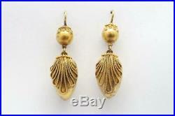 V PRETTY ANTIQUE VICTORIAN ENGLISH 15K GOLD ETRUSCAN REVIVAL DROP EARRINGS c1870