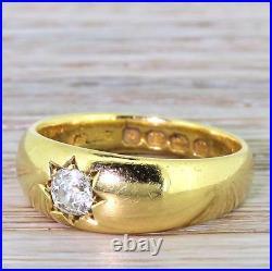 VICTORIAN 0.33ct STAR SET OLD CUT DIAMOND BAND RING 18k Gold ENGLISH, 1887