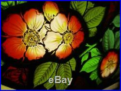 VICTORIAN ENGLISH LEADED STAINED GLASS TRANSOM WINDOW HP Floral 40.5 x 12