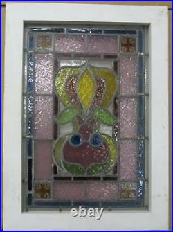 VICTORIAN ENGLISH LEADED STAINED GLASS WINDOW Colorful abstract 17.5 x 24