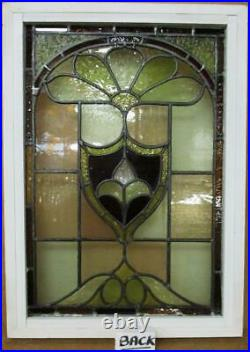 VICTORIAN ENGLISH LEADED STAINED GLASS WINDOW Fleur De Lis 17.25 x 23.75