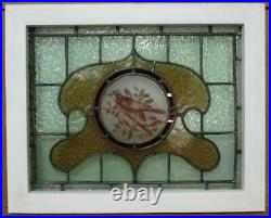 VICTORIAN ENGLISH LEADED STAINED GLASS WINDOW Hand Painted Bird 22.25 x 18