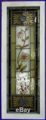 VICTORIAN ENGLISH LEADED STAINED GLASS WINDOW Hand Painted Flowers 15.25 x 41