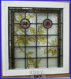 VICTORIAN ENGLISH LEADED STAINED GLASS WINDOW Hand Painted Vines 18.75 x 20.5