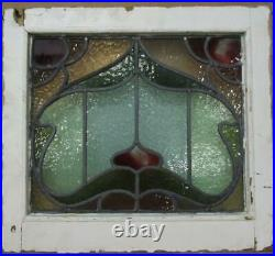 VICTORIAN ENGLISH LEADED STAINED GLASS WINDOW Pretty Floral 18.25 x 16.5