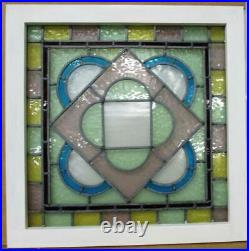 VICTORIAN ENGLISH LEADED STAINED GLASS WINDOW Pretty Pastels 23 x 23.5