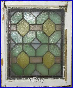 VICTORIAN ENGLISH LEADED STAINED GLASS WINDOW Stunning Geometric 20.5 x 24.5