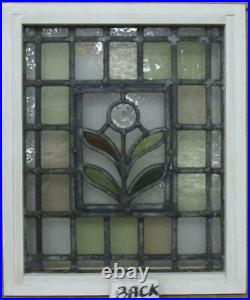 VICTORIAN OLD ENGLISH LEADED STAINED GLASS WINDOW Bullseye/ Leaves 14 x 16.75