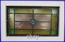 VICTORIAN OLD ENGLISH LEADED STAINED GLASS WINDOW Geometric Bullseye 19 x12.25