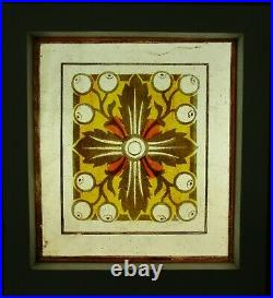 VICTORIAN OLD ENGLISH LEADED STAINED GLASS WINDOW Handpainted Panel 8.25 x 9.25
