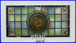 VICTORIAN OLD ENGLISH LEADED STAINED GLASS WINDOW Painted Flowers 23.5 x 13.5