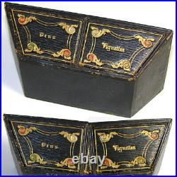VR Antique Victorian English Boulle Stationery Casket or Desk Box, Canted Shape