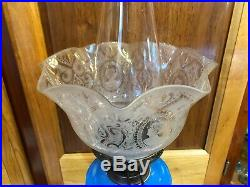 Victorian, Antique English Glass Blue and White double wick Oil Lamp