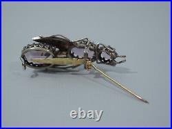 Victorian Bug Brooch Antique Pin English Silver, Amethysts Pearls C 1880