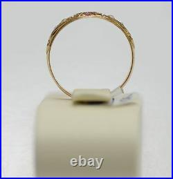Victorian English 15K yellow gold ring with ruby & pearls, S 9, signed