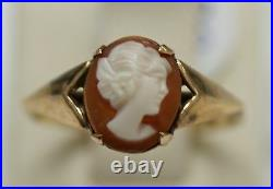 Victorian English 9K cameo(mother of pearl) golden ring, SIZE 7. SIGNED