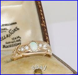 Victorian English 9K yellow gold ring with opal & pearls, Size 6.75, signed