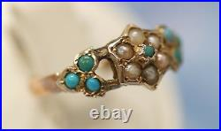 Victorian English 9K yellow gold ring with turquoise & pearl, Size 9, signed