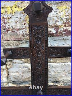 Victorian English Heavy Hand Carved Hall Tree Umbrella Stand Coat Rack Nice