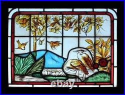 Victorian English Painted Lakeland Herons & Birds Antique Stained Glass Window