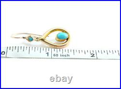 Victorian English Persion Turrquoise Pierced Dangle Earrings 10k Yellow Gold