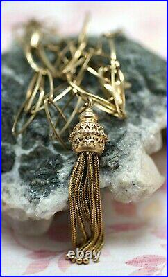 Victorian English Pinch Beck Gilded Tassel With Chain