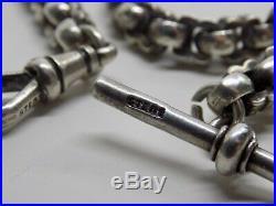 Victorian English Sterling Silver Albert Pocket Watch Chain. 12. 28.8g. (ncb)