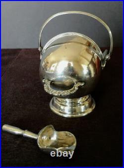 Victorian English Sterling Walker & Hall Sugar-Spice Scuttle Orig. Scoop 1880's