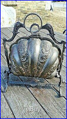 Victorian English ornate footed Shell biscuit folding serving Candy with trays