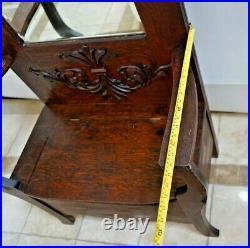 Victorian Hall Tree Throne style Dark English Oak under seat storage mirror