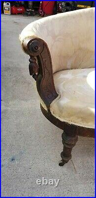 Victorian Hand Carved Antique Couch / Sofa Settee Needs To Be Reupholstered