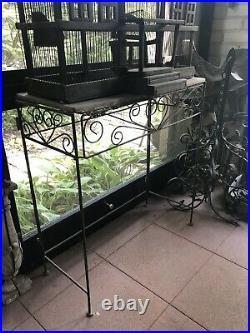 Victorian Iron Wire & Wood Mansion Style English Folk Art Bird Cage on Stand
