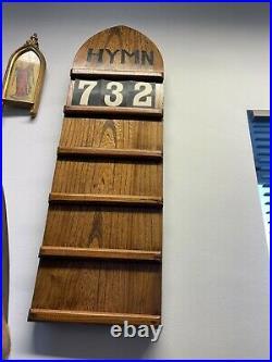 Victorian Oak English Church Hymn Board & Numbers Very Rare
