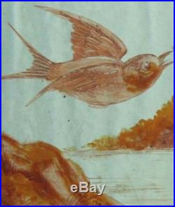 Victorian Pretty Painted Birds Pair English Antique Stained Glass Windows