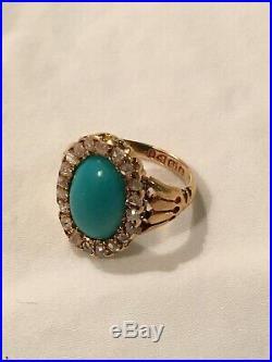 Victorian Turquoise Diamond Ring, 18K Gold, English Hallmarked