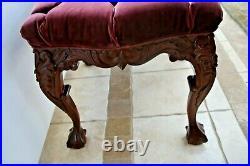 Victorian Vanity Sofa Bench Window Bedroom lounge Tufted Velvet ball claw legs