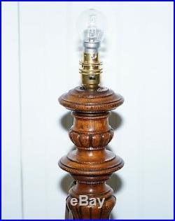 Victorian Walnut Empire Pillar Large Table Top Small Floor Standing Lamp Convert