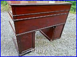 Victorian antique Edwardian roll top Rosewood desk with many drawers compartments