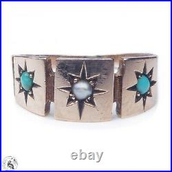 Victorian antique solid 9k gold seed pearl & turquoise gypsy ring English 1878