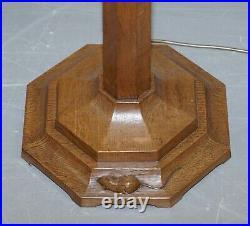 Vintage 1950-1960 Robert Mouseman Thompson Floor Standing English Oak Lamp