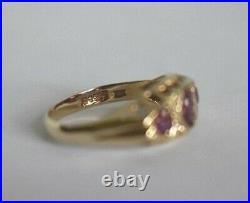 Vintage. 375 English Ruby Diamond 10K Yellow Gold Size 6 1/2 Victorian Band Ring