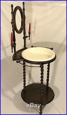 Vintage Antique Style Barley Twist Wash Stand w Mirror Jug and Basin Towel Bar
